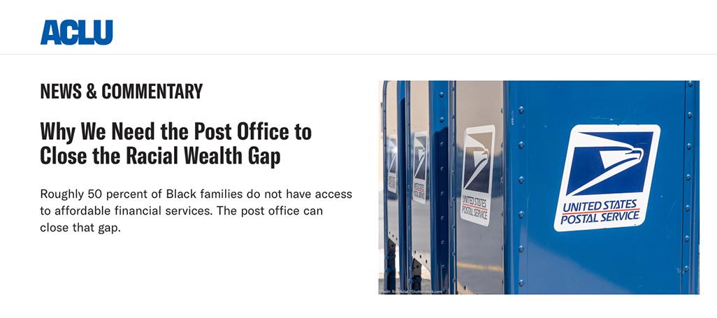 ACLU backs postal banking